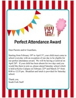 (TK-3)South Fork Fay Campus Perfect Attendance Reward