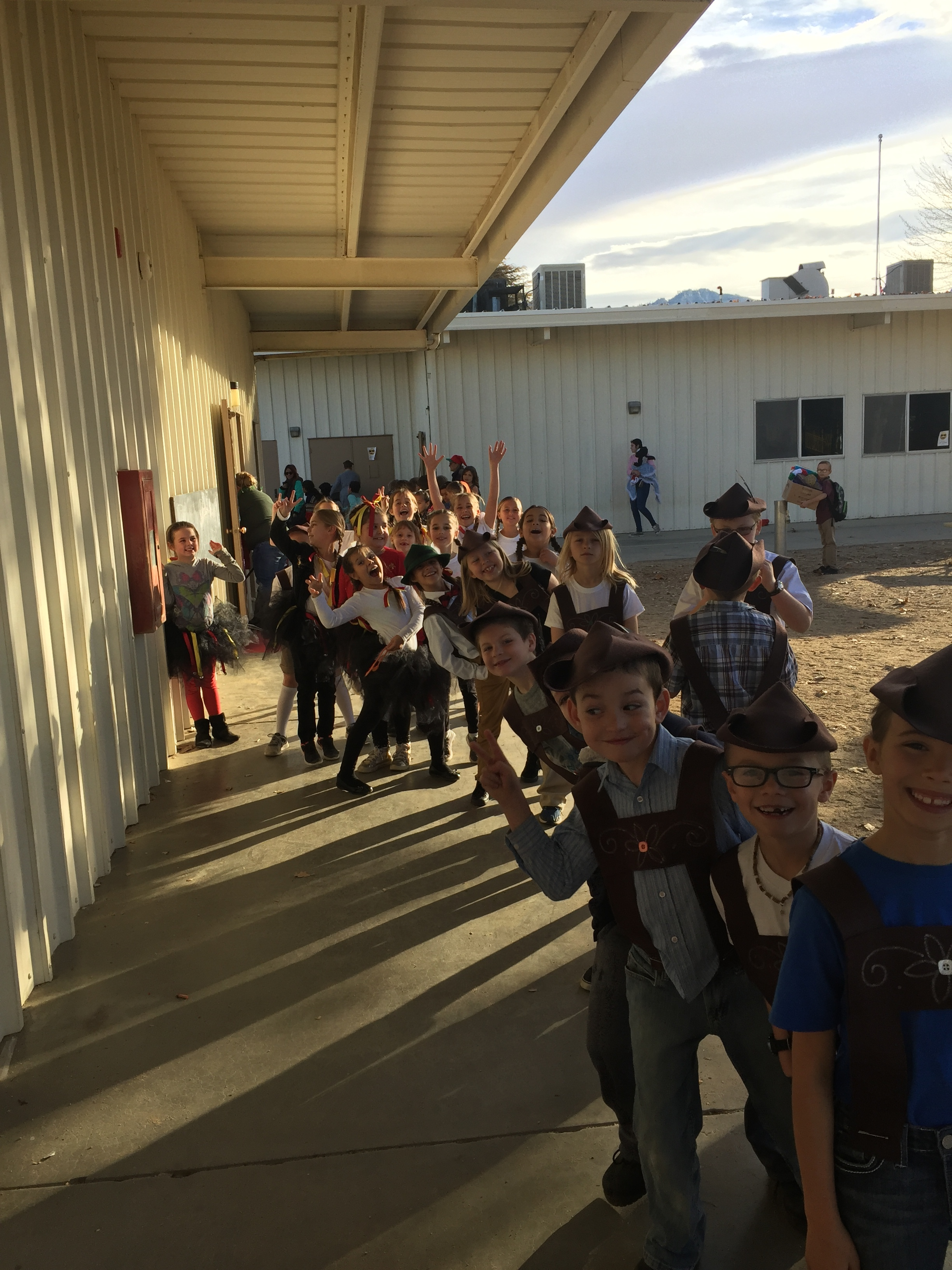 Kids lining up for class